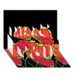 Orange Tulips Miss You 3d Greeting Card (7x5)