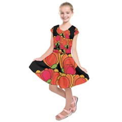 Orange tulips Kids  Short Sleeve Dress
