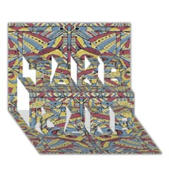 Multicolor Abstract Take Care 3d Greeting Card (7x5)