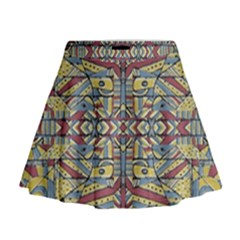 Multicolor Abstract Mini Flare Skirt