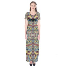 Multicolor Abstract Short Sleeve Maxi Dress