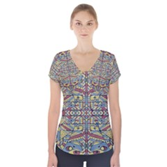 Multicolor Abstract Short Sleeve Front Detail Top