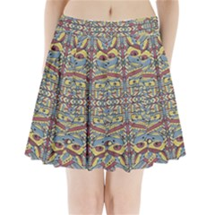 Multicolor Abstract Pleated Mini Skirt