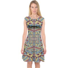 Multicolor Abstract Capsleeve Midi Dress