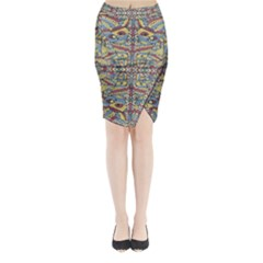 Multicolor Abstract Midi Wrap Pencil Skirt