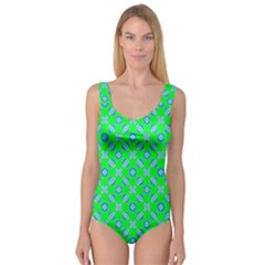 Mod Blue Circles On Bright Green Princess Tank Leotard