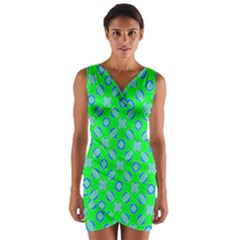 Mod Blue Circles On Bright Green Wrap Front Bodycon Dress