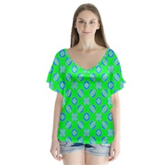 Mod Blue Circles On Bright Green Flutter Sleeve Top