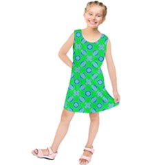 Mod Blue Circles On Bright Green Kids  Tunic Dress