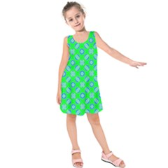 Mod Blue Circles On Bright Green Kids  Sleeveless Dress