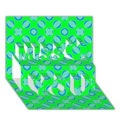 Mod Blue Circles On Bright Green Miss You 3d Greeting Card (7x5)