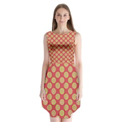Mod Yellow Circles On Orange Sleeveless Chiffon Dress