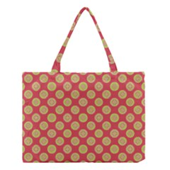 Mod Yellow Circles On Orange Medium Tote Bag