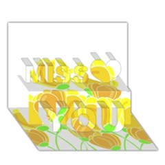 Yellow Flowers Miss You 3d Greeting Card (7x5)