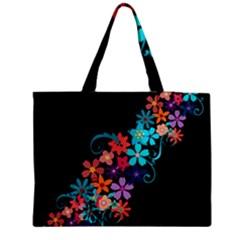 Coorful Flower Design On Black Background Medium Tote Bag