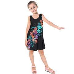 Coorful Flower Design On Black Background Kids  Sleeveless Dress