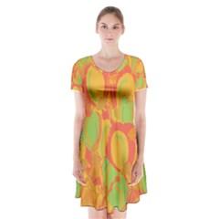 Orange Garden Short Sleeve V Neck Flare Dress