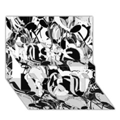 Black and white garden Miss You 3D Greeting Card (7x5)