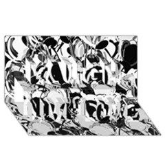 Black And White Garden Laugh Live Love 3d Greeting Card (8x4)