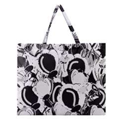 Black and white garden Zipper Large Tote Bag