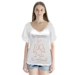 Budda Design V Neck Flutter Sleeve Top
