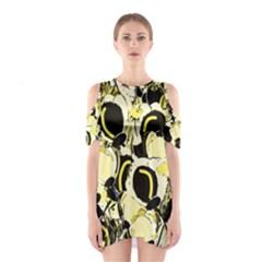 Yellow abstract garden Cutout Shoulder Dress