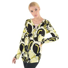 Yellow abstract garden Women s Tie Up Tee