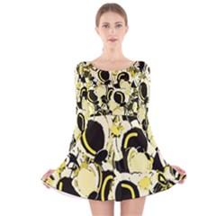 Yellow abstract garden Long Sleeve Velvet Skater Dress