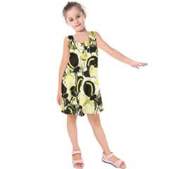 Yellow Abstract Garden Kids  Sleeveless Dress