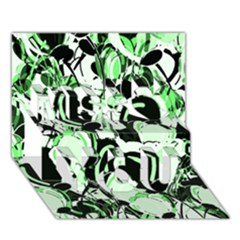 Green abstract garden Miss You 3D Greeting Card (7x5)
