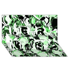 Green Abstract Garden Merry Xmas 3d Greeting Card (8x4)