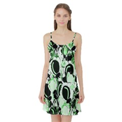Green abstract garden Satin Night Slip