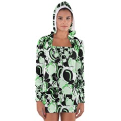 Green abstract garden Women s Long Sleeve Hooded T-shirt