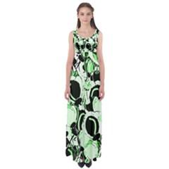 Green abstract garden Empire Waist Maxi Dress