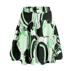 Green abstract garden High Waist Skirt