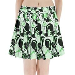 Green abstract garden Pleated Mini Skirt