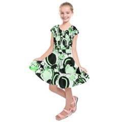 Green abstract garden Kids  Short Sleeve Dress