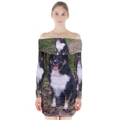 Australian Shepherd Black Tri Sitting Long Sleeve Off Shoulder Dress