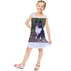 Australian Shepherd Black Tri Sitting Kids  Tunic Dress