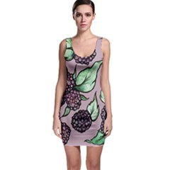 Black Raspberry Fruit Purple Pattern Sleeveless Bodycon Dress