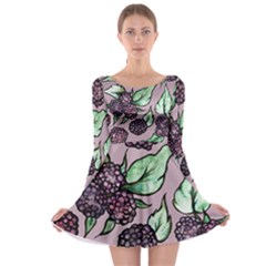 Black Raspberry Fruit Purple Pattern Long Sleeve Skater Dress