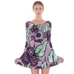 Black Raspberry Fruit Purple Pattern Long Sleeve Velvet Skater Dress