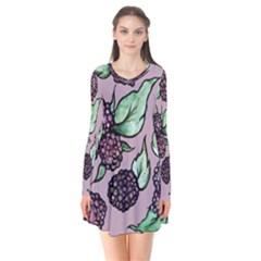 Black Raspberry Fruit Purple Pattern Flare Dress