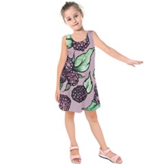 Black Raspberry Fruit Purple Pattern Kids  Sleeveless Dress