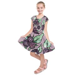 Black Raspberry Fruit Purple Pattern Kids  Short Sleeve Dress