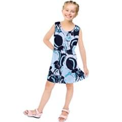 Blue abstract  garden Kids  Tunic Dress