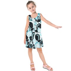 Blue Abstract  Garden Kids  Sleeveless Dress