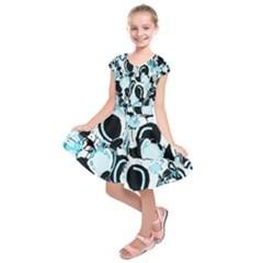 Blue Abstract  Garden Kids  Short Sleeve Dress