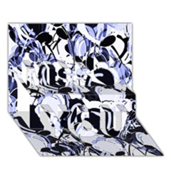 Blue abstract floral design Miss You 3D Greeting Card (7x5)