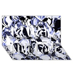 Blue Abstract Floral Design Laugh Live Love 3d Greeting Card (8x4)